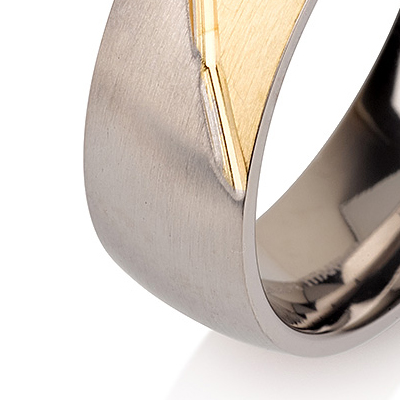 Titanium wedding bands - 14k Gold Plate brushed titanium ring with brushed titanium design - 7mm