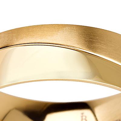Titanium wedding bands - 14k Gold Plate brushed titanium ring with half polished finishing - 7mm