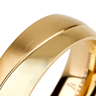 Titanium wedding bands - 14k Gold Plate brushed titanium ring with half polished finishing - 7mm