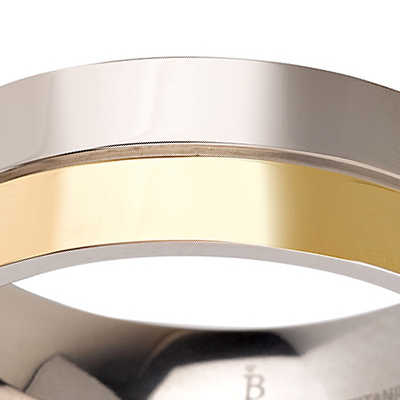 Titanium wedding bands - 14k Gold Plate polished titanium ring with half non plated - 7mm