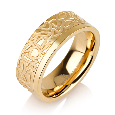 Titanium wedding bands - 14k Gold Plate vintage design titanium ring - 7mm