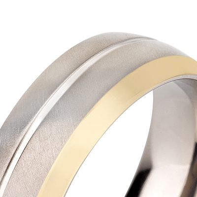 Titanium wedding bands - 14k Gold Plate polished titanium ring with brushed finishing - 7mm