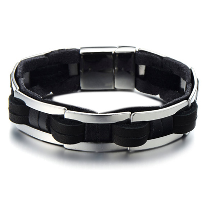 Mens Bracelets - Braided Black leather titanium bracelet 17mm wide and 24cm long