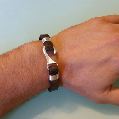 Mens Bracelets - 'Sea Treasures' Sterling silver 925 with genuine brown leather bracelet, hook design