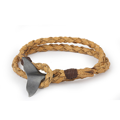 Mens Bracelets - 'Sea Treasures' Sterling silver 925 with genuine light brown leather bracelet, fin clasp oxidized and brushed