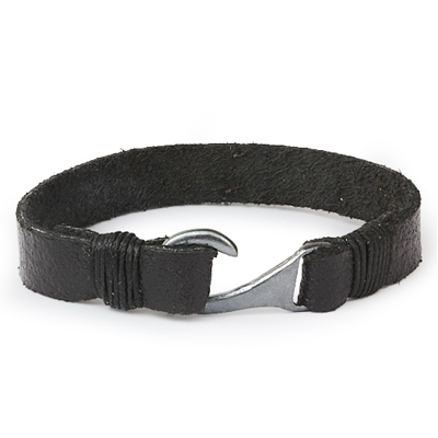 Mens Bracelets - 'Sea Treasures' Sterling silver 925 with genuine wide black leather bracelet, polished hook