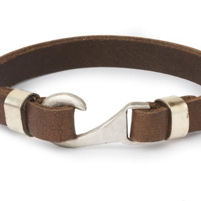 Mens Bracelets - 'Sea Treasures' Sterling silver 925 with genuine brown leather bracelet, hook design