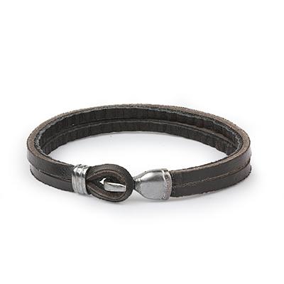 Mens Bracelets - 'Sea Treasures' Sterling silver 925 with dark leather bracelet, oxidized hook clasp