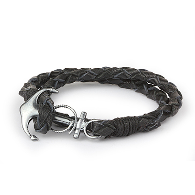 Mens Bracelets - 'Sea Treasures' Sterling silver 925 with genuine black leather bracelet, anchor clasp oxidized and brushed