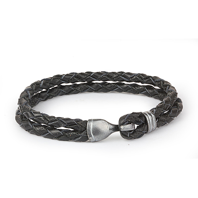 Mens Bracelets - 'Sea Treasures' Sterling silver 925 with black and silver leather bracelet, hook clasp