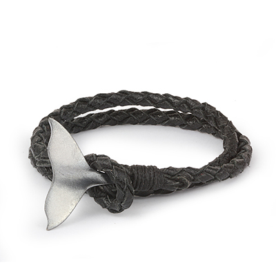 Mens Bracelets - 'Sea Treasures' Sterling silver 925 with genuine black leather bracelet, brushed and oxidized fin