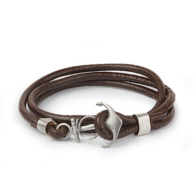 Mens Bracelets - 'Sea Treasures' Sterling silver 925 with genuine brown leather bracelet, anchor clasp polished