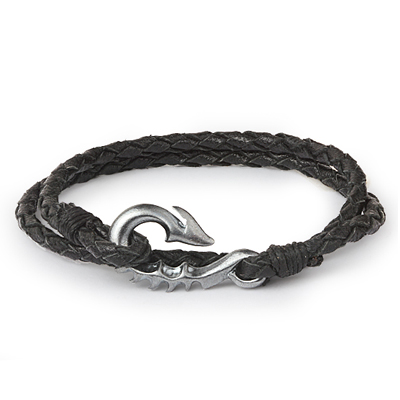 Mens Bracelets - 'Sea Treasures' Sterling silver 925 with genuine black leather bracelet, brushed and oxidized seahorse