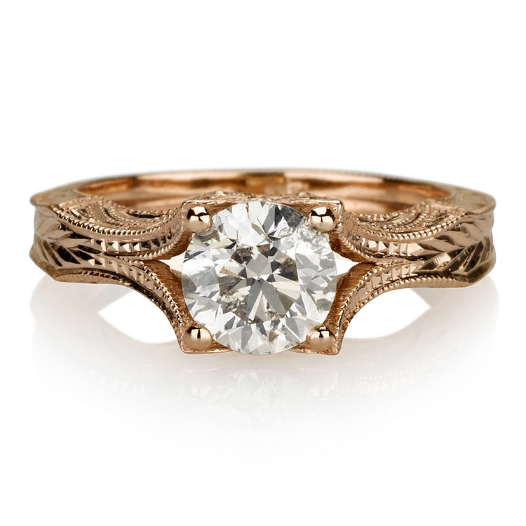 14K Rose Gold Art Deco Antique Engagement Vintage Petite Hand Engraved Filigree Engagement Ring 2