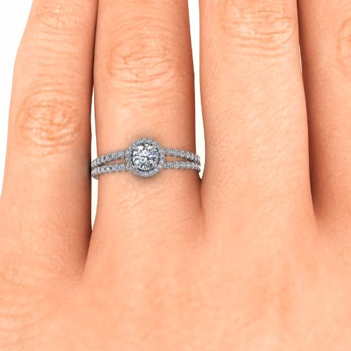 14k White Gold Double Pave Split Shank Halo - Diam