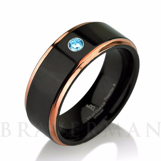 Aquamarine Band Black Tungsten Ring Rose Gold Wedding Band Mens