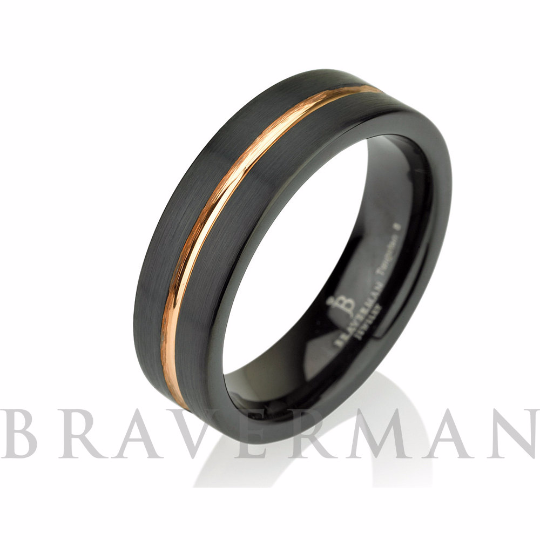Black Tungsten Ring Rose Gold Wedding Band Ring Tu