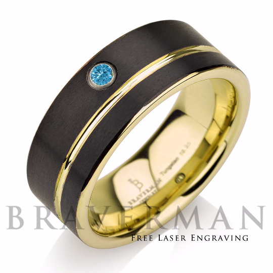 Blue Diamond Black Plated Tungsten Band with Yello