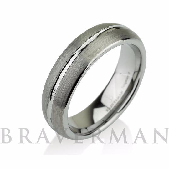 Domed Men's Tungsten Ring Mens Wedding Band Brushe