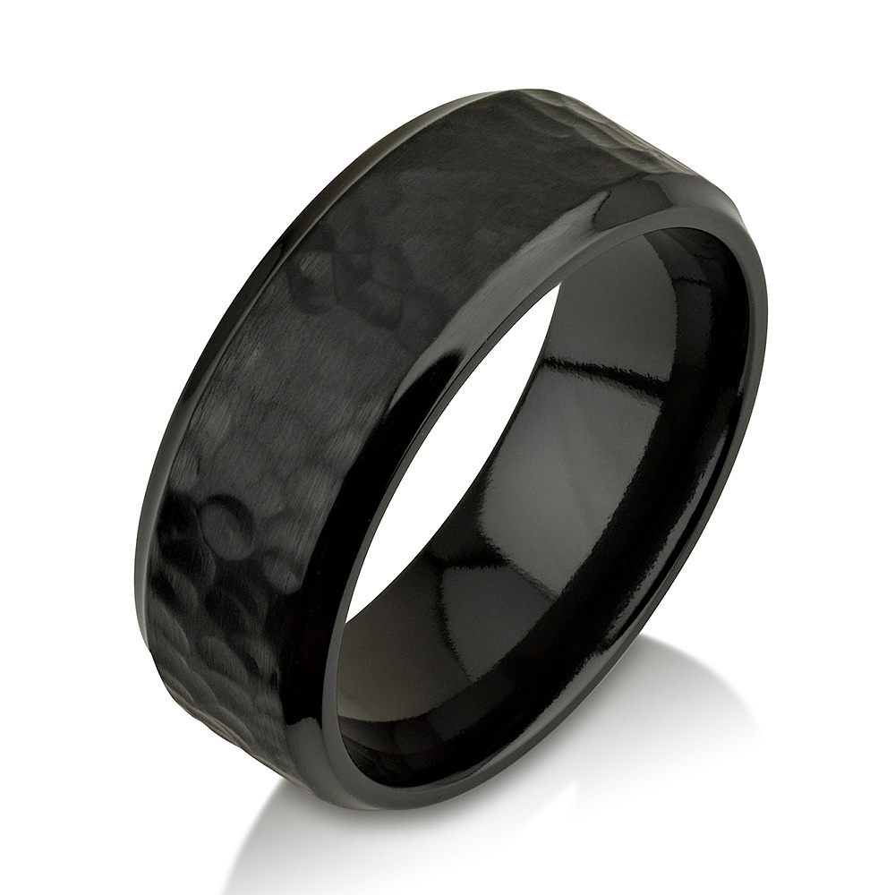 Hammered Black Zirconium Ring, Black Zirconium Wed