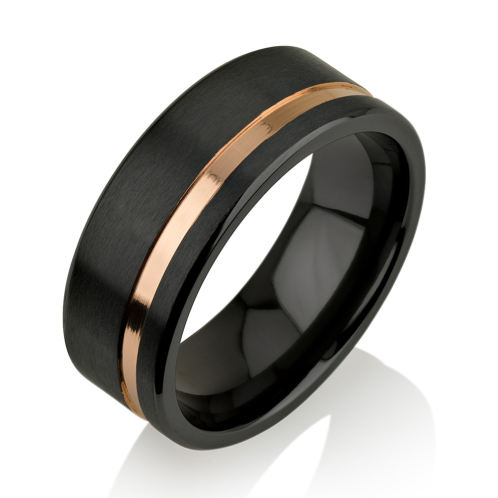 Rose Gold Black Zirconium Ring, Black Zirconium We