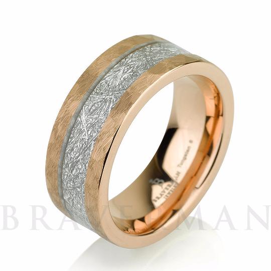 Rose Gold Satin Hammered Mens Meteorite Wedding Band, Meteorite Ring, Mens Meteorite Ring, Meteor Ring, Tungsten Wedding Band