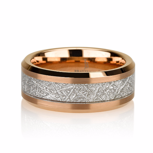 Satin Rose Gold Mens Meteorite Wedding Band, Meteo