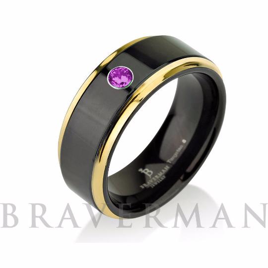 Tungsten Wedding Band Purple Cz Stone Mens Ring Black