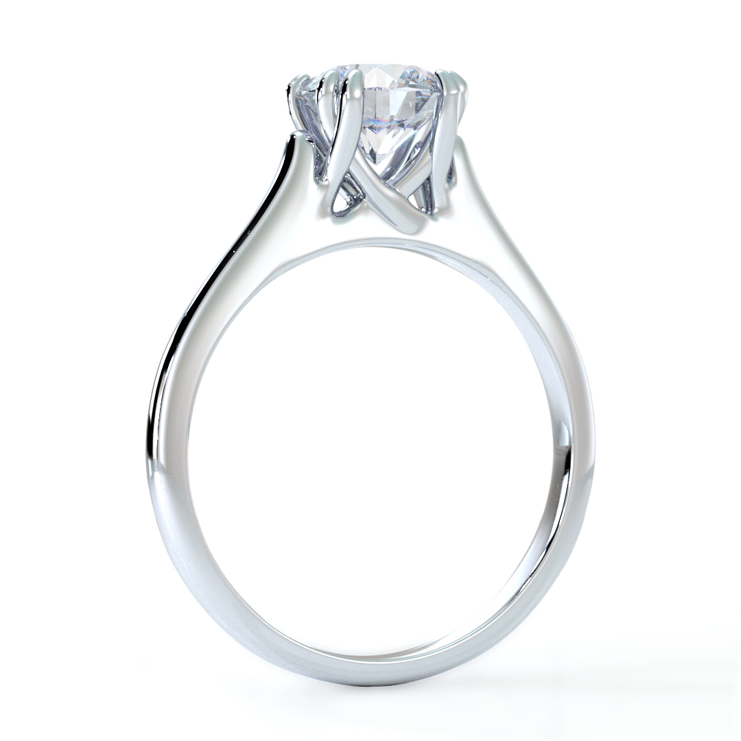 Platinum Diamond Ring - Twisted Double Prongs - Ca