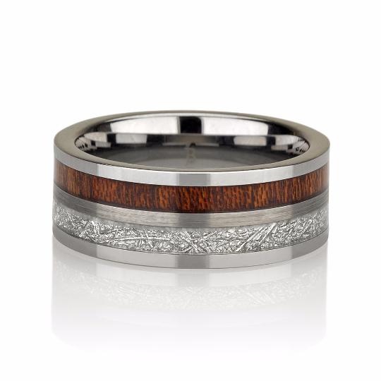 Wood Mens Meteorite Wedding Band, Meteorite Ring, Mens Meteorite Ring, Meteor Ring, Tungsten Wedding Band, Flat Top, Brushed Satin