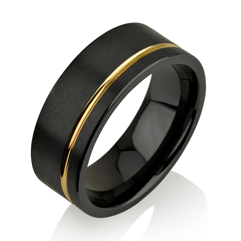 Yellow Gold Black Zirconium Ring, Black Zirconium