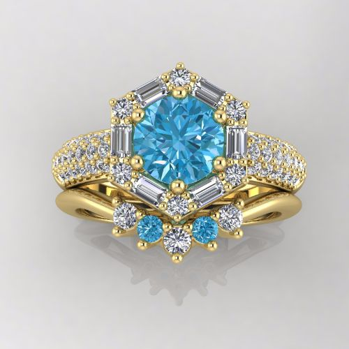 14K Yellow Gold Wedding Ring - Blue and White Diam
