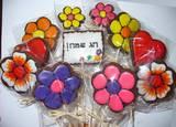ראש השנה - עציץ עוגיות פרחים וברכה-מקרוב