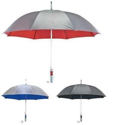 מטריה 23 אינצ' בד פוליאסטר עם ציפוי כסף כפול BM1631
