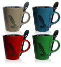 סט קפה מעוצב 8 חלקים עשוי פורצלן הכולל 4 כוסות ו-4 כפיות BM4853