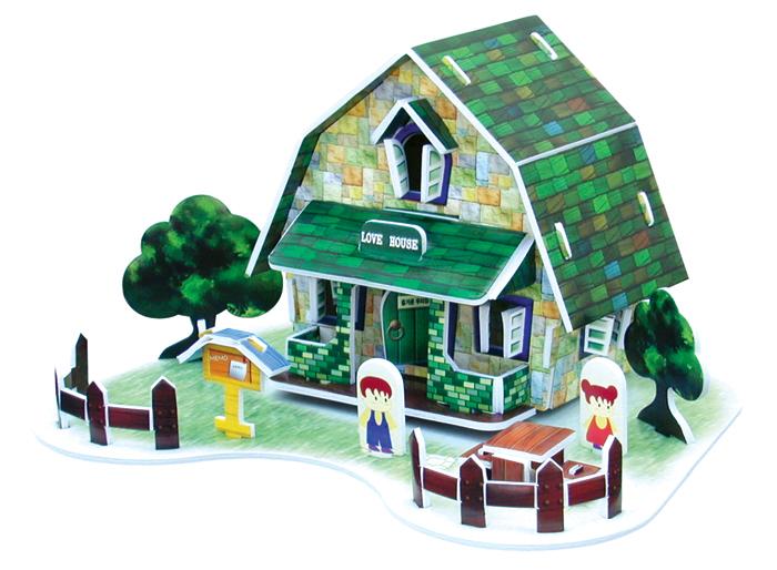 פאזל תלת מימד -בית קלפים - ירוק