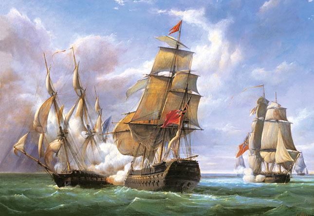 פאזל 3000 חלקים - קרב בין ספינה צרפתית לקנוניירה לבין ספינה אנגלית הטרמנדוס