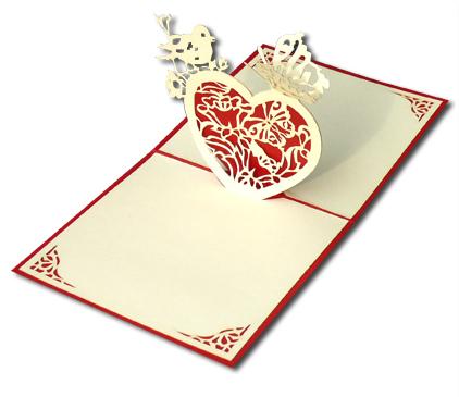 כרטיס ברכה תלת מימד - לב אדום
