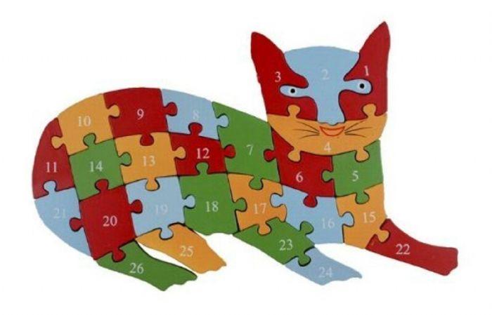 פאזל לילדים מעץ צורת חתול