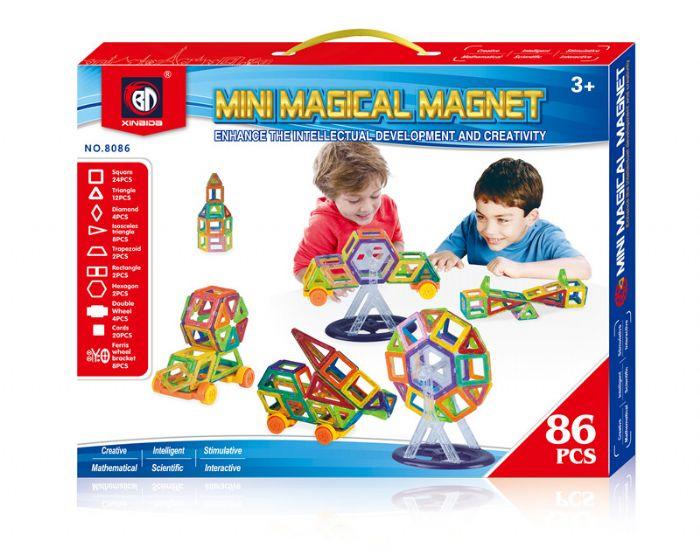 משחק מגנטים לילדים  86 חלקים עם גלגלים וקרוסלה