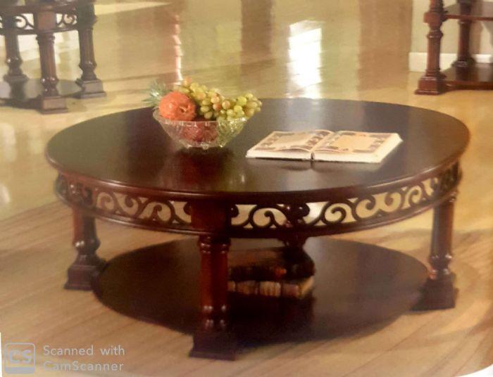 שולחן עגול לסלון עץ מעוצב # HSC006