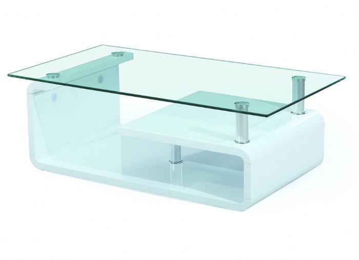 שולחן סלון לבן עם זכוכית # 133