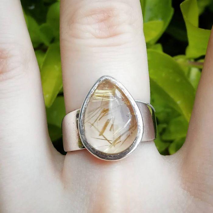 טבעת קוורץ רוטילייטד