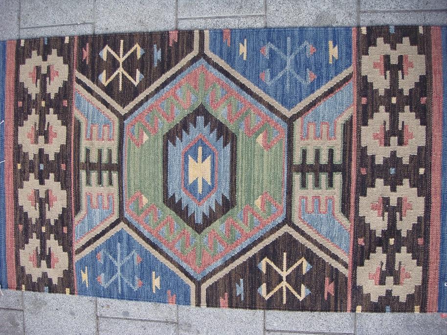שטיח קילים כחול אפור ירוק