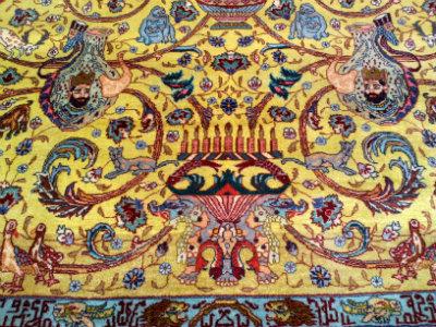 קטע משטיח פרסי זיר חאקי ישן