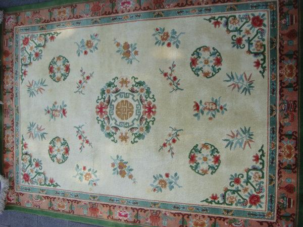 שטיח סיני קרם עם ירוק