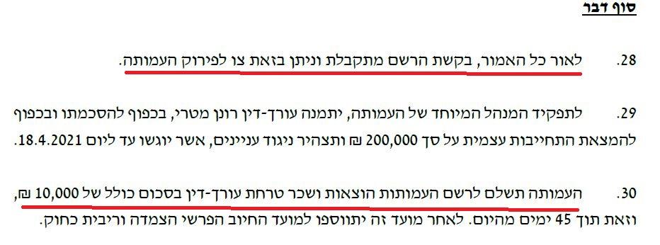 החלטת הפירוק ועדת הרבנים