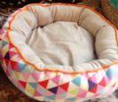 מיטה עגולה בצבעי פסטל מרופדת לכלבים קטנים במידה 47X47X16