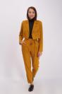 מכנס קפלים סט בר לאישה בצבע חרדל