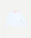טי שירט סינגל עם שרוול ארוך וצווארון כפול לילדות, בצבע לבן